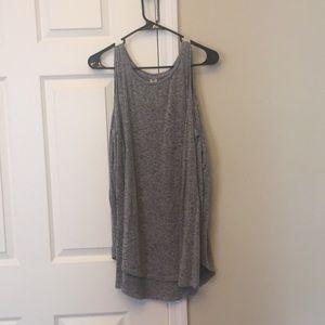 Gray cold shoulder shirt